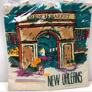 Vintage New Orleans French Market Tote Bag 1995